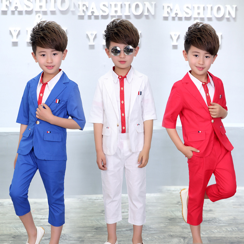 2018 Summer Children Clothes Set Kids Gentleman Boys Clothing Set Gentleman Suits Solid Boys Formal Suit Boys Suits For Weddings baby boys kids formal suits summer boy gentleman clothes set short sleeve shirt gray overalls trousers outfit for children