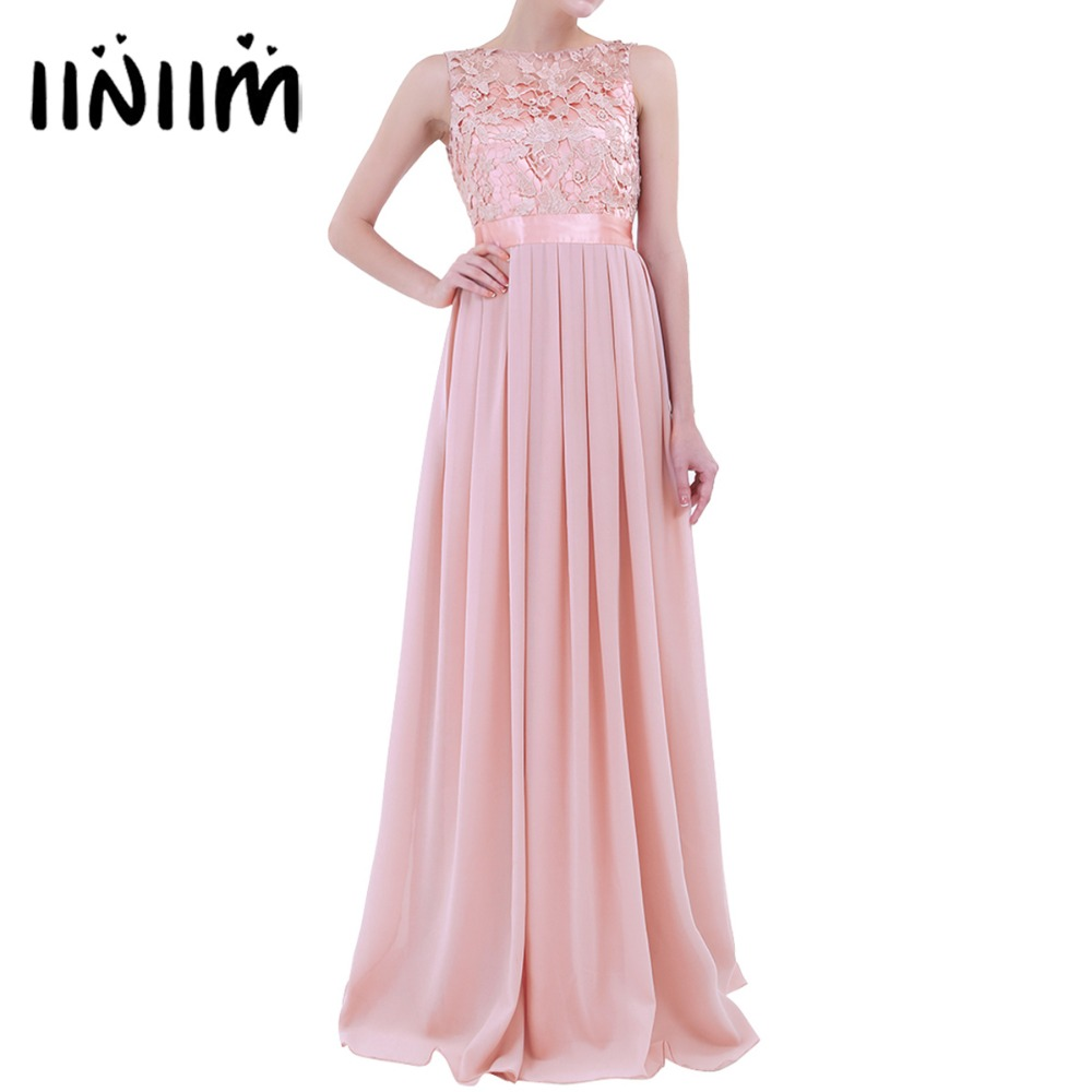 Elegant Women Ladies Embroidered Chiffon Ball Gown Prom Princess Bridesmaid Long Dress Formal Dress First Communion Party Dress