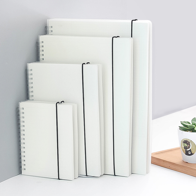 small rings coil transparent Hardbound Sketch Book, plastic sketch pads with check dots blank paper сумка allrounder m dots
