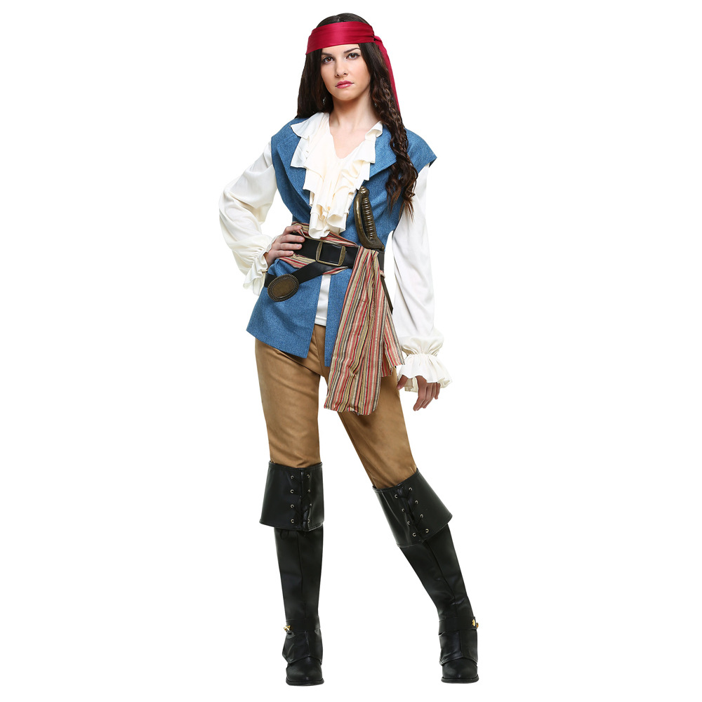Halloween Pirate of the Caribbean Costume Women Pirate Outfit  Jack Sparrow Carnival Cosplay Party Fantasia Fancy Dress