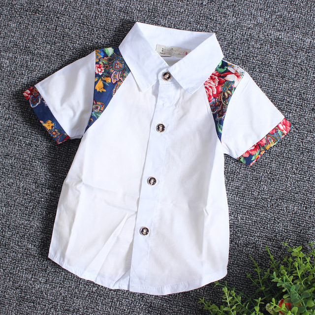 New 2016 Summer Toddler Clothing Baby Boys 3 Color Cotton Short Sleeve Shirt