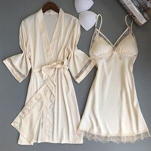 Image 5 - Fiklyc מותג נשים של שינה & טרקלין שני חתיכות robe & שמלת סטי סקסי חלול החוצה תחרה וסאטן נשי מיני כתנות לילה חלוק רחצה סט
