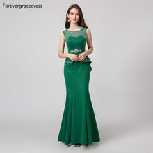 Forevergracedress Elegant Green Color Evening Dresses 2019 Mermaid Sleeveless Beading Formal Party Gowns Plus Size Custom Made(China)