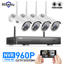 Hiseeu Wireless CCTV System 4CH 960P waterproof IP camera outdoor wifi 1080P NVR 4PCS Home Security System Surveillance 1.3MP