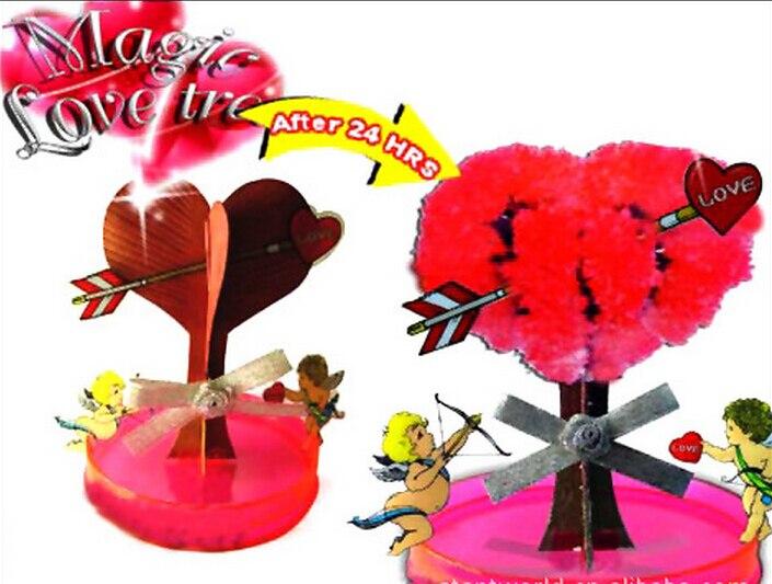 2019 7x7 cm Vermelho DIY Grandes Árvores Magicamente Crescer Amando Magia Crescer Kit Árvore De Amor Papel Arvore Magica brinquedos de natal Para Crianças