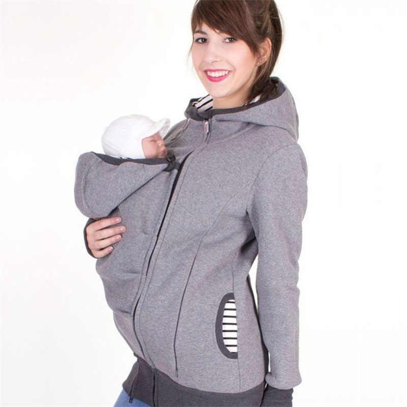 Nuevo 2018 moda manga larga con capucha maternidad sudaderas sudadera ropa para mujeres embarazadas hoddie llevar bebé infantil cremallera abrigo
