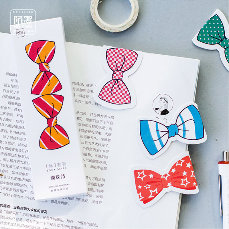 Z13 30pcs /Pack Kawaii Bowknot Design Colored Folded Bookmark School Office Supply Stationery Message Writing Card Girl Gift