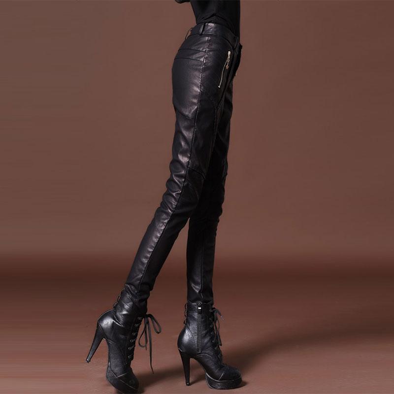 Cremallera Cintura Pu Lápiz Terciopelo Pantalones Alta Mujer Con Mujeres De La Punk Negro Moda Las Cuero vqC06