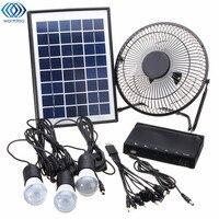 Солнечный Мощность Панель зарядки DC USB светодиодный свет лампы Вентилятор Комплект для дома на открытом воздухе кемпинга