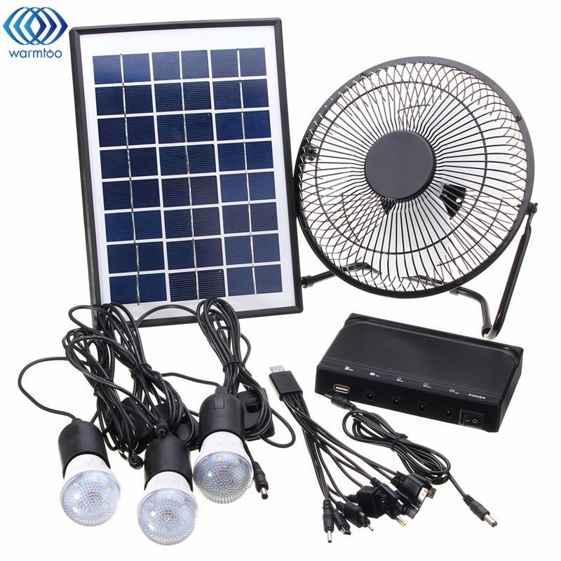Solar Power Panel Charging DC USB LED Light Lamp Fan Kit For Home Outdoor Camping все цены