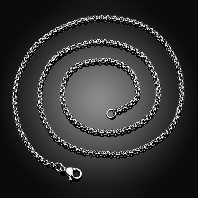 Hot 316L stainless steel chain necklace for men 2mm retro fashion style good match Top quality factory wholesale
