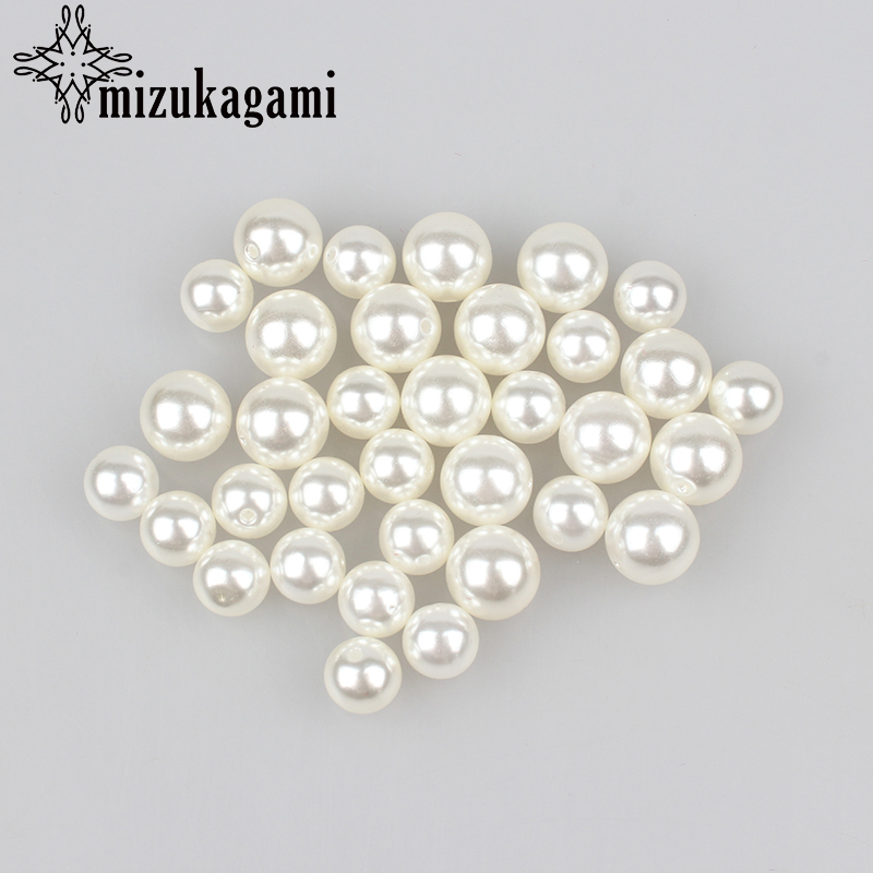 Beads & Jewelry Making Active 4.6.8.10.12.14mm Abs White Imitation Pearl Beads Half Hole Round Bead For Diy Necklace Accessories High Quality And Low Overhead