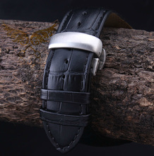22mm 23mm 24mm Black Crocodile Pattern Genuine Leather Watch band Strap Silver Brushed Butterfly Clasp For
