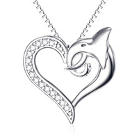 GNX10485 YAFEINI 925 Sterling Silver New Design Necklaces Dolphin Love Heart Hollow Pendant Charming Romantic Jewelry Necklace