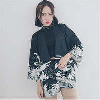 Chiffon Summer Spring Kimono Open Stitch Couple Sunscreen Dragon Print Windbreaker Women Loose Thin Casual Jacket