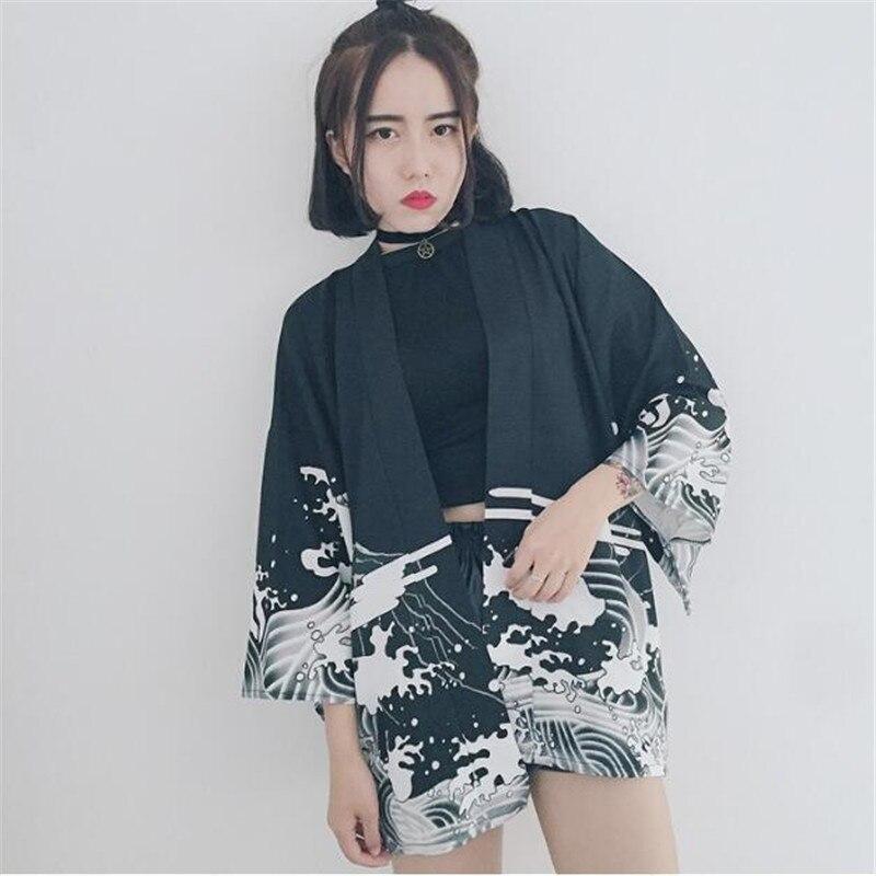 Chiffon Summer/Spring Kimono Open Stitch Couple Sunscreen Dragon Print Windbreaker Women Loose Thin Casual Jacket TT2633