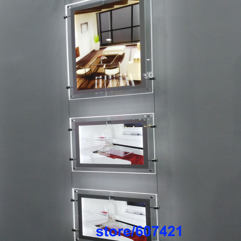 (4unit/Column) A3 Double Sided Custom LED Slim Magnetic Light Box,Magnetic Front LED Panels for Estate Agents,Chain Retail Store