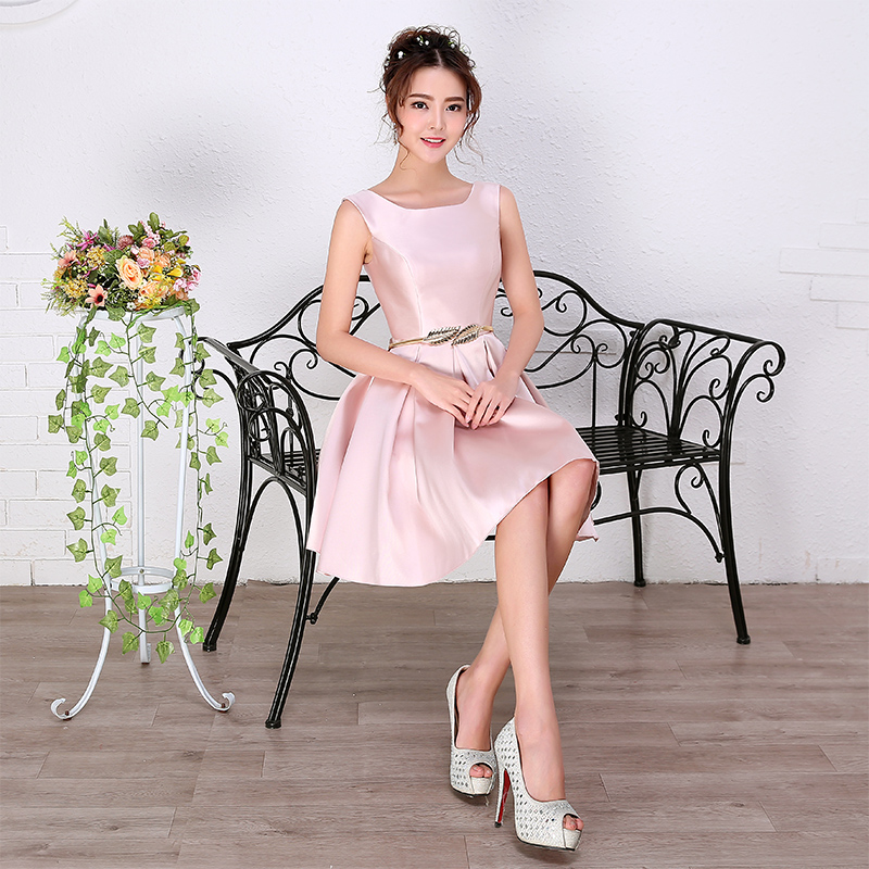 Robe De Soiree 2016 New Simple Elegant A-line Knee-length Pink Bride Party Formal   Dress   Sexy V-neck Short   Cocktail     Dresses