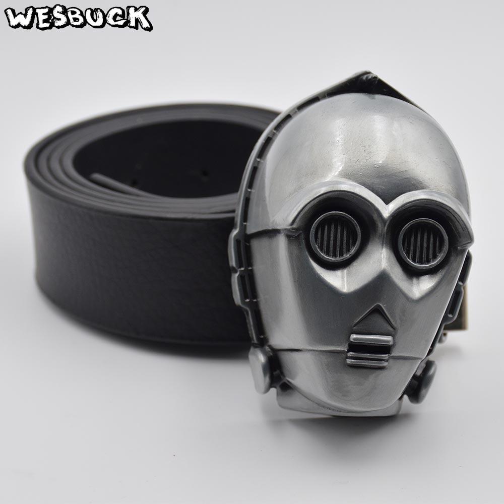 New Superman Western fashion Silver Superhero Men Metal belt buckle Leather Belt