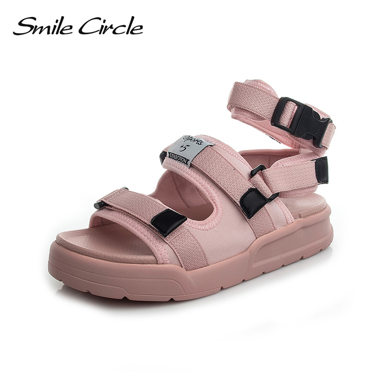 Smile Circle 2018 Summer Style Sandals For Women Casual Shoes Fashion Flat Platform Shoes women Open Toes Sandals Beach shoes instantarts women flats emoji face smile pattern summer air mesh beach flat shoes for youth girls mujer casual light sneakers