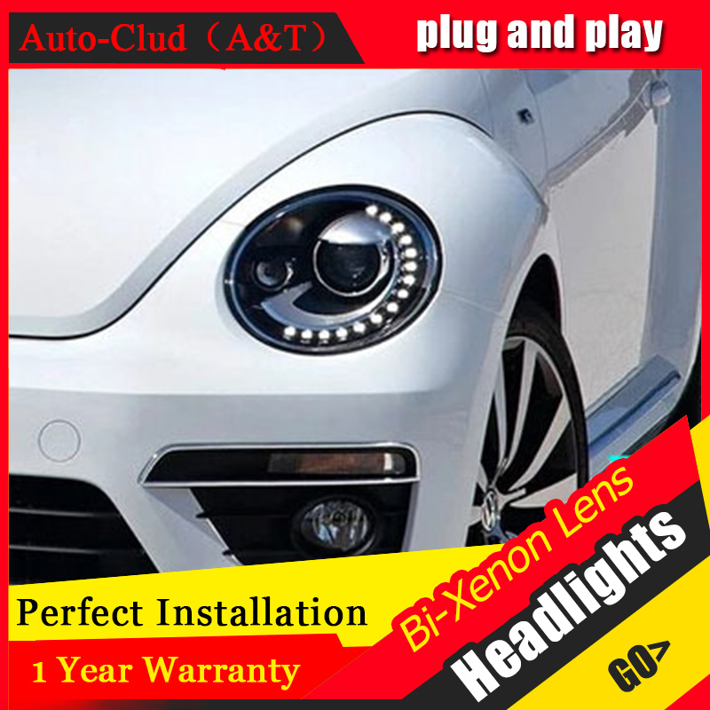 Auto Clud For VW Beetle headlight assembly 2013-2015 for Beetle bi xenon len parking headlamps car styling 2013 headlamps for chery qq front headlamps assembly before the lamp lights with bulb