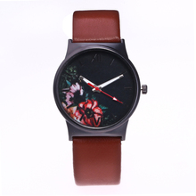 New Brand Fashion Quartz Watch Floral Design Women Watches Casual Leather strap Wrist watch Brown Black Clock Relogio Feminino цена
