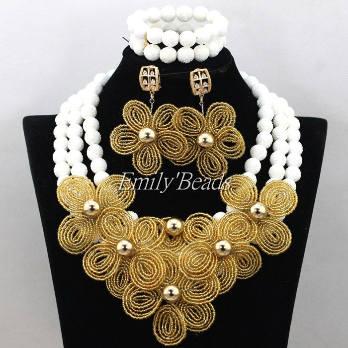 Graceful Nigerian Wedding White Artificial Carve Coral Beads Jewelry Set African Costume Bridal Necklace Set Gold Flowers CJ562