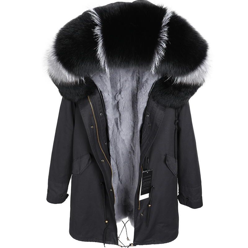 Maomaokong2018 fashion women's clothing Real rabbit fur grass liner Park coat Real fox fur collar winter jacket long jacket