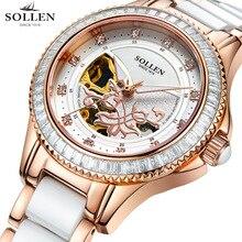 SOLLEN 32.5 мм белый розовое золото tourbillon power reserve чайка движение, женская водонепроницаемый полые автоматические механические часы