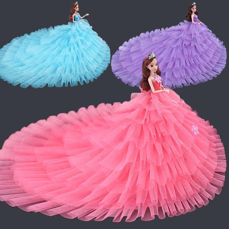 Saleaman New Arrival Doll Clothes Beautiful Wedding Dress Beautiful DIY Handmade Party Dress For Barbie Doll