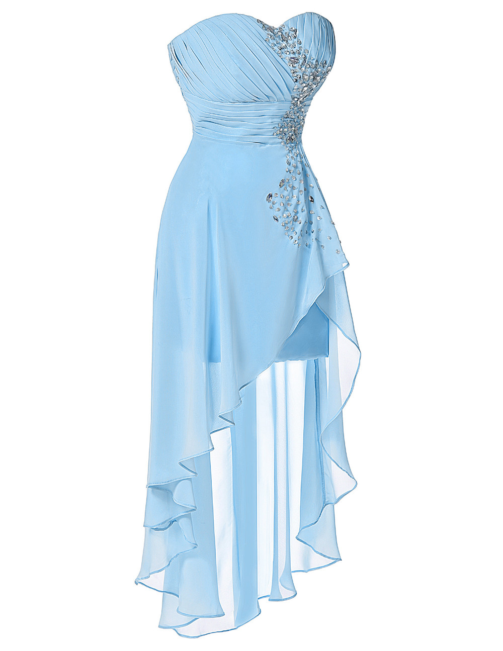 High Low Bridesmaid Dress 2017 Short Front Long Back Prom Gown Strapless Bead Sequin Pink Turquoise Bridesmaid Dress Grace Karin 13