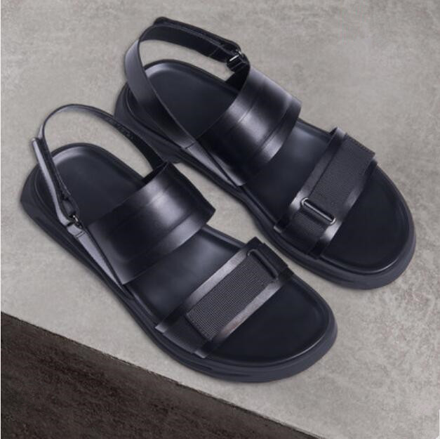 Black Summer Mens Cozy Fashion Casual Sandals Criss Cross Straps Male Cool Beach Sandals Shoes Flats