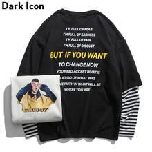 DARK ICON Sad Boy Printed Stripe Patchwork Sleeve Mens Sweatshirt 2019 New Funny Printing High Street Sweatshirts Streetwear