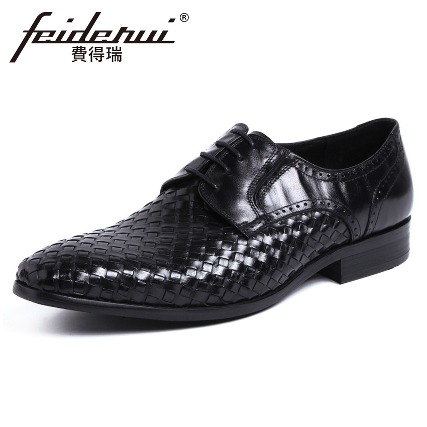 2018 Famous Handmade Men's Formal Dress Footwear Genuine Leather Pointed Toe Lace-up Man Basic Derby Wedding Party Shoes YMX482 new italian designer men s wedding party footwear genuine leather pointed toe lace up derby man luxury formal dress shoes ymx504