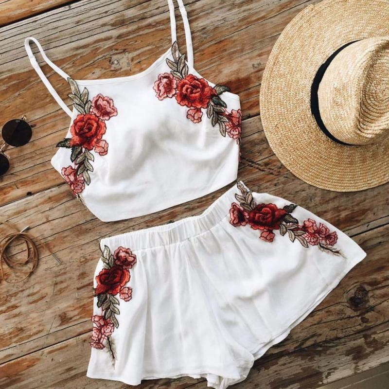 Casual 2PCS Women Summer Clothes Set Embroidered Floral Vest Crop Top+ Shorts Pants Girls Lady Clothing Sets