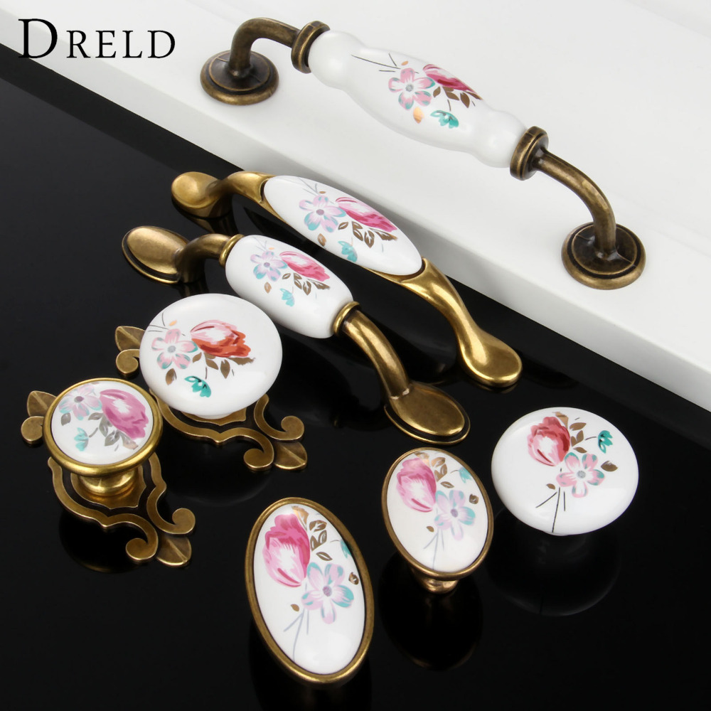1Pc Furniture Handles Vintage Cabinet Knobs and Handles Ceramic Door Knob Cupboard Drawer Kitchen Pull Handle Furniture Hardware retro vintage kitchen drawer cabinet door flower handle furniture knobs hardware cupboard antique metal shell pull handles 1pc