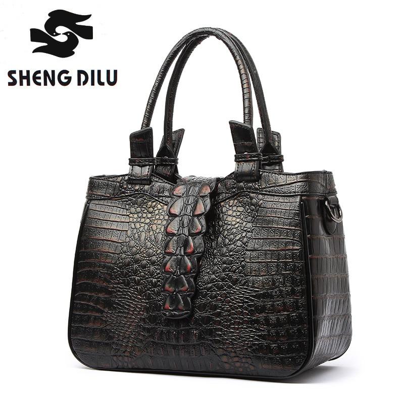 SHENGDILU Brand Genuine Leather Vintage Bag women Crocodile Pattern Vintage handbag bolsas crossbody bags women messenger bags