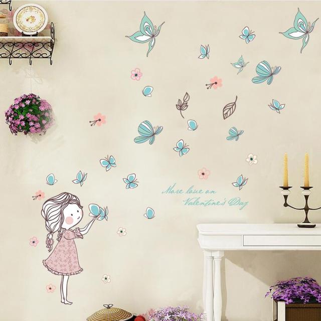 Diy Lovely Baby Girl Bedroom Decor Wall Stickers Cute Cartoon Butterfly  Flying Home Children Rooms Naklejki