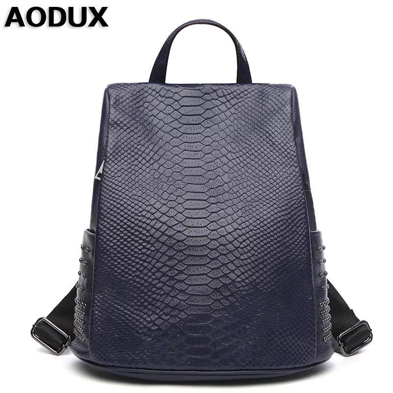 AODUX Women's Designer Famous Brand Genuine Leather Backpack Crocodile Pattern Backpacks School Bags For Girls Fashion Cowhide free shipping 2015 new famous designer brand fashion leisure cavans school college wind backpack eiffel tower pattern