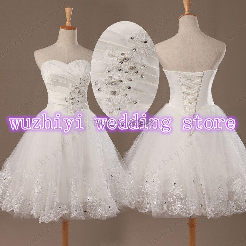wuzhiyi Sweetheart  Lace Applique Beaded WEdding Dress Short  New Arrival 2017 Sexy vestidos de noiva romantic wedding dresses