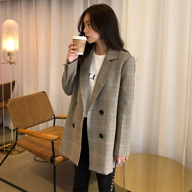 Office Ladies Notched Collar Plaid Women Blazer Double Breasted Autumn Jacket 2020 Casual Pockets Female Suits Coat 2
