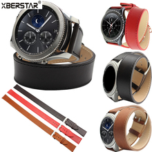 Genuine Leather Double Tour Bracelet Strap  Watchband For Samsung Gear S3 Frontier / Classic SM-R770 SM-R760 SM-R765 Smart Watch