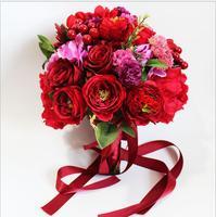 DIY New Red rose Bride bridesmaid wedding hand holding rose flower bouquet flower simulation flower wedding hand holding flowers