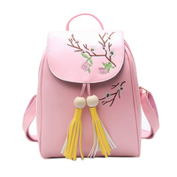 EnoPella Pu Leather Women New Vintage Casual Mini Small Leather Travel Bags Women Tassel School Backpacks