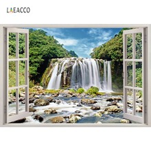 Laeacco Natural Mountain Waterfall Forest Stone Window Home Decor Photography Backdrops Photo Background Photocall Studio