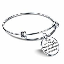 You Are Braver Than Believe,Stronger Seem,And Smarter Think. Stainless Steel Charm Bangle Cuff Bracelet