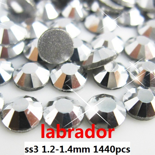 Non Hotfix Glass Crystal Rhinestones 1440pcs ss3 1.2-1.4mm Labrador FlatBack Round Strass Stones Diy Nail Art Phone Decoration rose color ss3 ss34 non hotfix crystal rhinestones for decoration flatback round glue on strass stones diy 3d nail art supplies