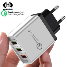 Quick Charge 3.0 USB Charger Travel For iPhone Samsung Micro Type C  Fast Charging 3 Ports EU / US Plug Mobile Phone