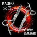 2 pçs/set KASHO Japão 440C de alta qualidade tesoura de cabelo Profissional corte plano de corte dentes franja combinação definir Frete grátis