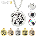 With chain as gift! wholesale 20mm/25mm/30mm magnetic tree of life 316L stainless steel essential oil diffuser locket necklace